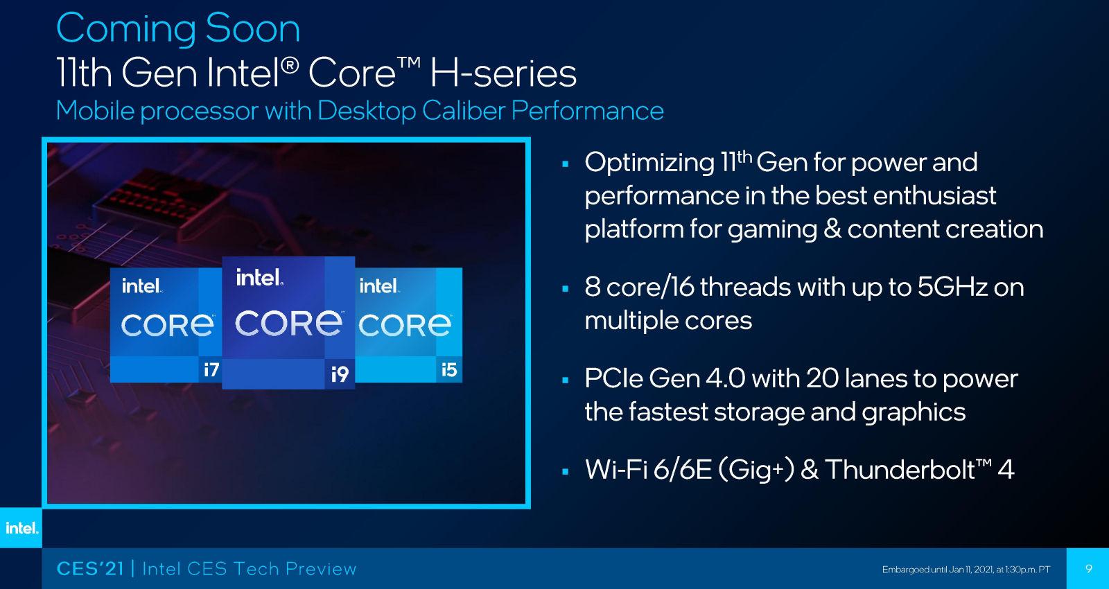 شركة Intel تستعد لإطلاق ثلاثة معالجات Tiger Lake-H مع ثمانية أنوية !!