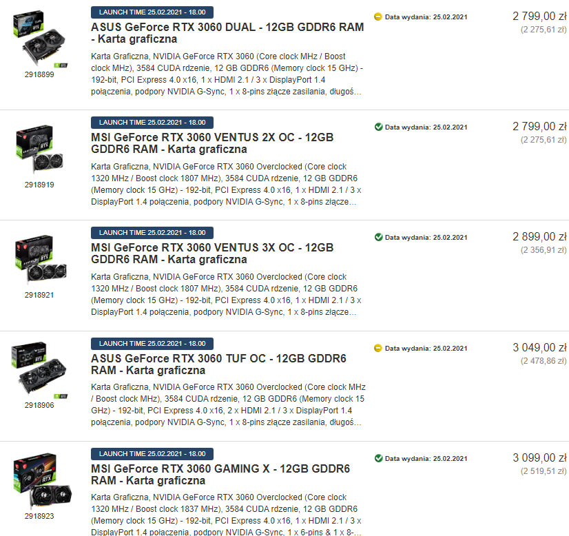 متاجر التجزئة الأوروبية تعرض بطاقات RTX 3060 القادمة بأسعار باهظة جدا
