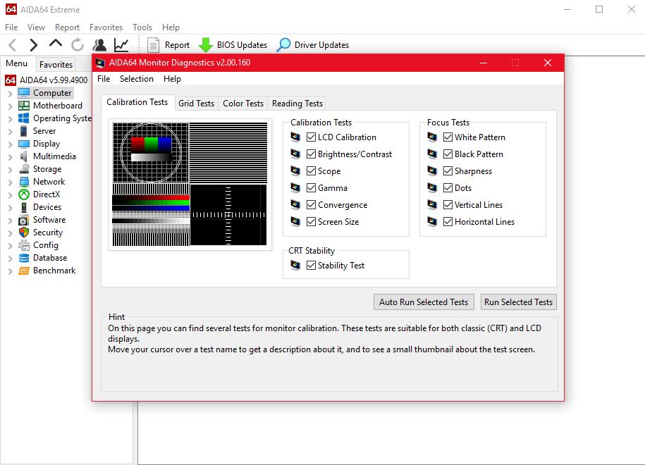 اختبار دقيق لشاشة العرض
