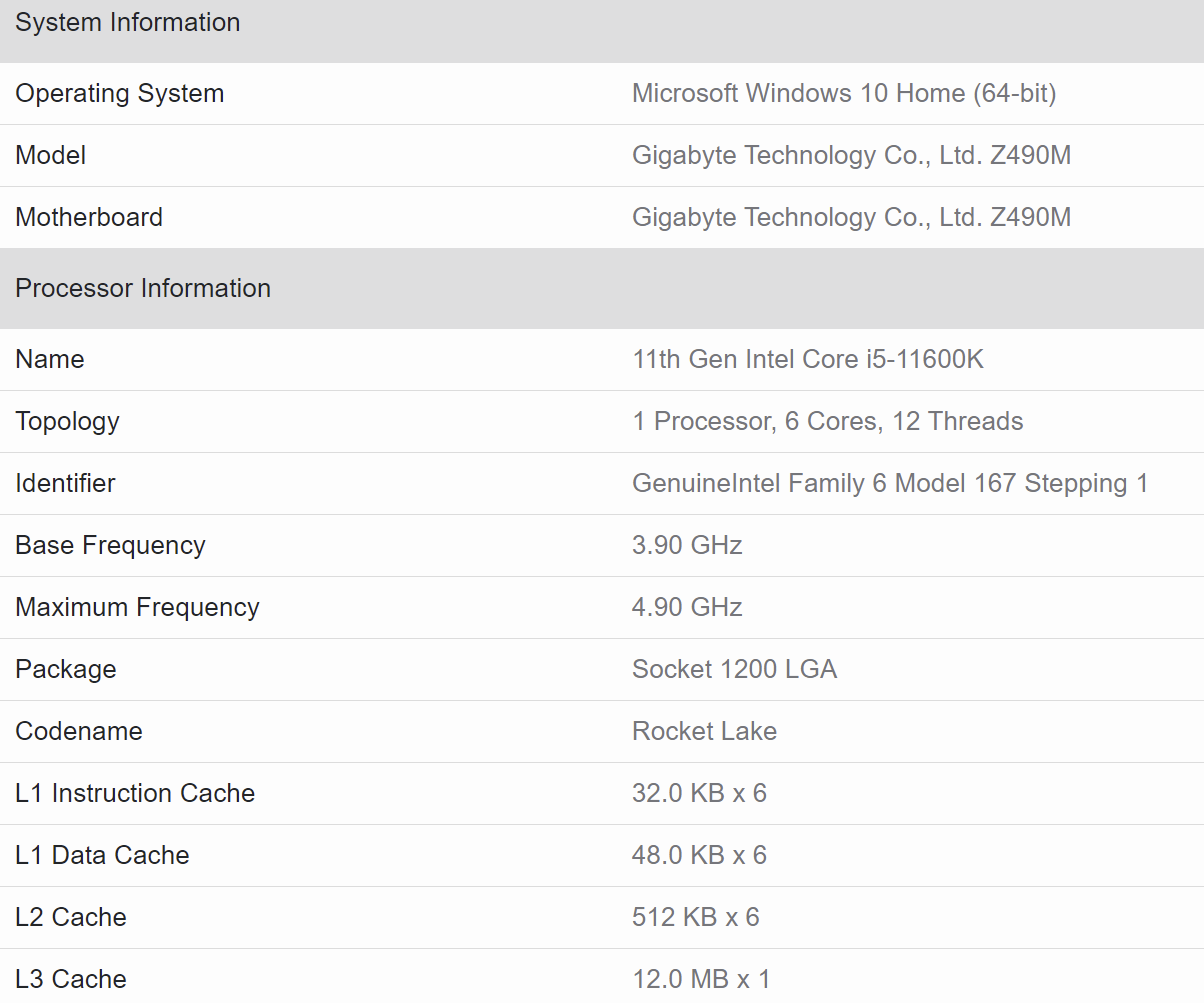 Intel-Core-i5-11600K-Geekbench-Specifications