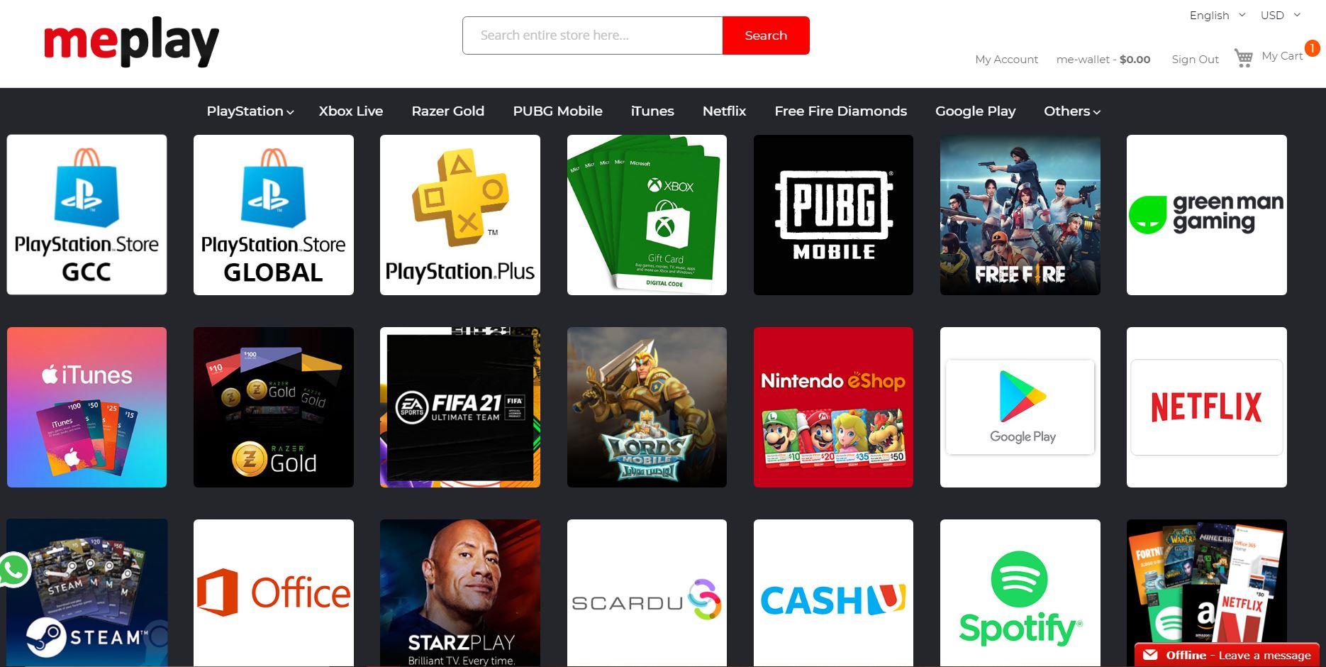 ستور MePlay بطاقات تعبئة الرصيد بطاقات رقمية Green Man Gaming
