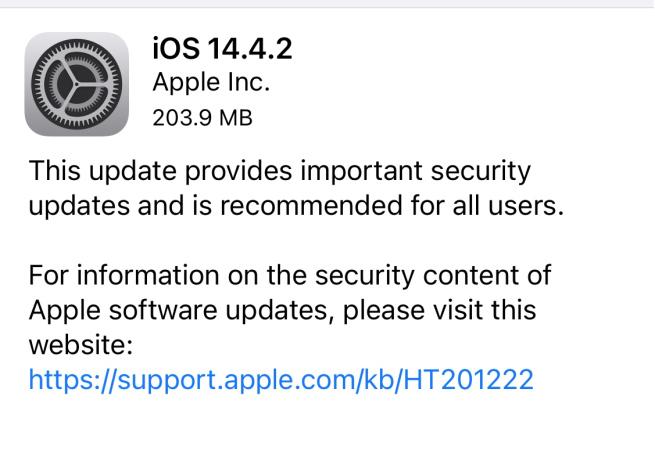Apple أبل iOS 14.4.2