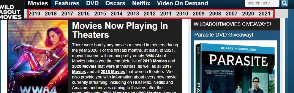قُم باختيار السنة التي تُريد البحث عن الأفلام فيها