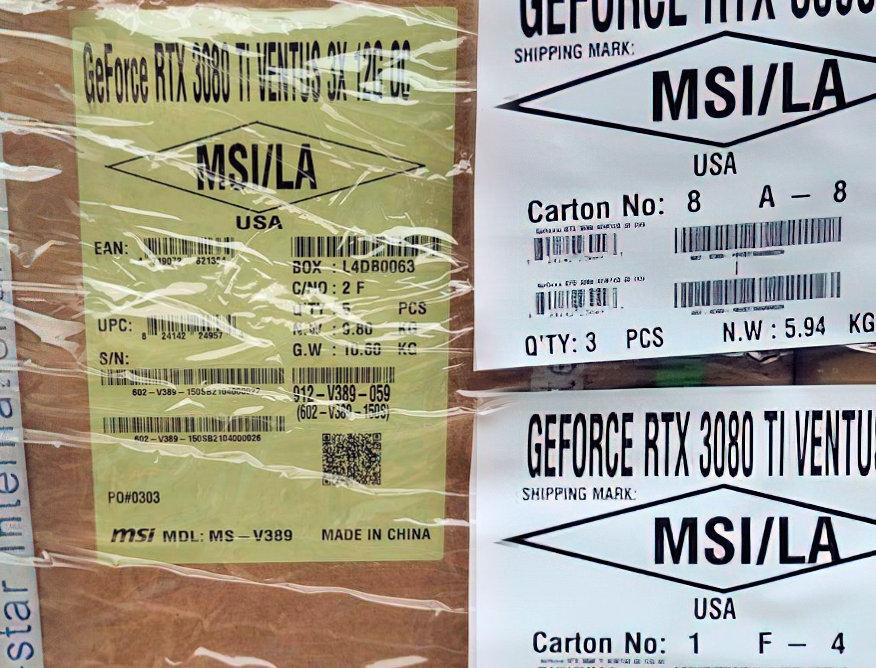 MSI RTX 3080 Ti Shipment