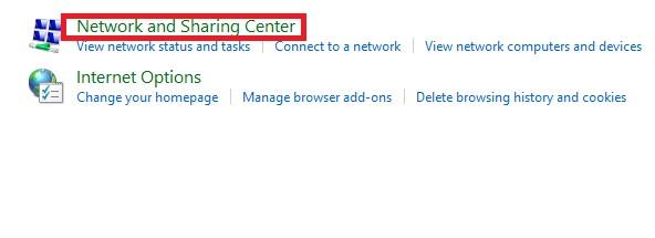 قُم باختيار Network and sharing center