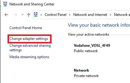 قُم باختيار change adapter settings