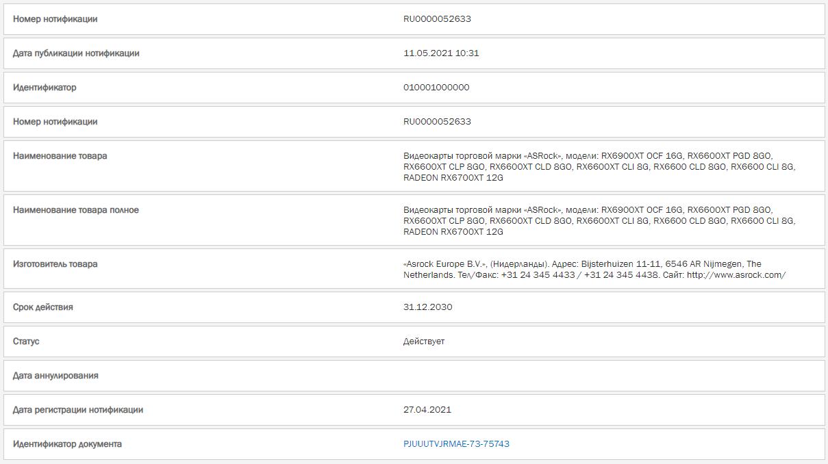 AMD Radeon RX 6600 Series ASRock Registration