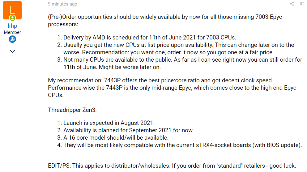 AMD Ryzen Threadripper Zen 3 Leaks